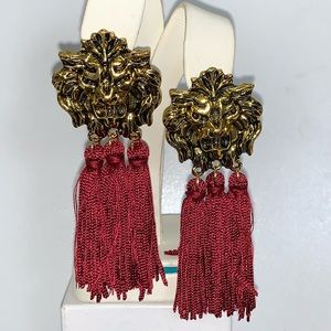 NWT Lion Head with Red Toss-ells Earrings